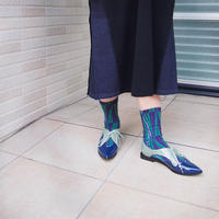 【nonnette】Geometric line  Socks    NS237G-80/ blue