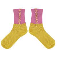 【SALE】Color combination  rib   Socks       NS228R-25/  yellow