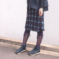 【nonnette】 Marble color fabric combination fringe High socks    NH029R- 40/ purple
