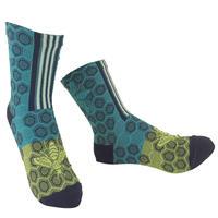 【nonnette】 Honey bee  Socks       NS247Y-72/ emerald blue