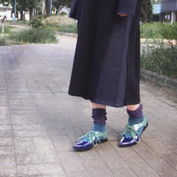 【nonnette】 Marble color fabric combination  Socks    NS235R-40/ purple