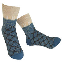 【nonnette】 Fun grid  Socks    NS242G- 79 / mole blue
