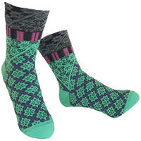 【nonnette】 Fun grid  Socks    NS242G- 51/ light green