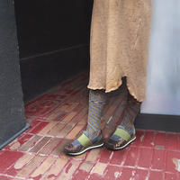 【nonnette】Rib marble color Tights  NT108R-25/ yellow blown mix