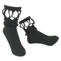 【nonnette】 Fabric combination Socks      NS223R- 99/ black
