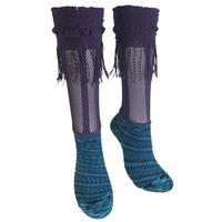 【nonnette】 Marble color fabric combination fringe High socks    NH029R- 40/ purple