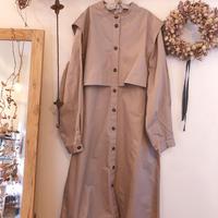 綿ツイルヨークレイヤード ワンピースコート