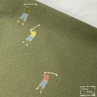 【洗える着物】小紋 袷 ゴルフプレイヤー 松葉色