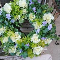 blue & white natural wreath