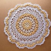 Cotton*ラムネ菓子のドイリー*light yellow+ white multi