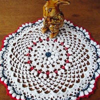 Cotton*ラムネ菓子のドイリー*white+blue+red