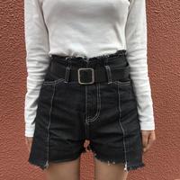 Stitch short denim pants