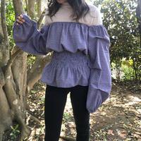Off shoulder check blouse