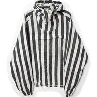 60's NYLON FABRICATORS INC Striped  Anoluck Parker  (L) ワイドピッチストライプ  ナイロン アノラックパーカー  黒×白