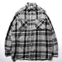 50's WINTER KING PLAID FLANNEL SHIRT (about M) ウインターキング チェック フランネルシャツ 黒白 マチ付き