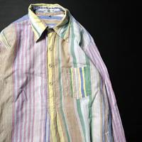 70's Gentleman John Indian Cotton Striped Pullover L/S Shirt (L) インド綿 マルチカラーストライプ プルオーバー シャツ