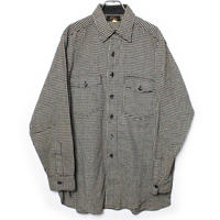 50's L.L.Bean Black and White Houndstooth Wool Shirt  (15 1/2) LLビーン ギンガムチェック ウールシャツ 黒×白 筆記体タグ
