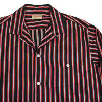 50's SPORTSWEAR STRIPED COTTON L/S SHIRT (M) スポーツウェア ストライプ コットンオープンカラーシャツ 黒×赤