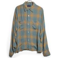 70's  VAN HEUSEN PLAID RAYON SHIRT (M) ヴァン ヒューゼン チェック レーヨン オープンカラーシャツ