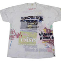 NOS 90's Sample Multi Printed T-Shirt (XL) デッドストック 両面 試し刷りプリントTシャツ 白