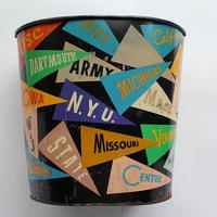 50's~60's COLLEGIATE PENNANTS RRINTED METAL WASTE CAN