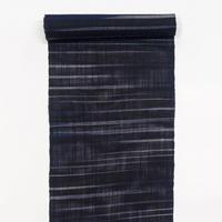 【在庫有り展示品】能登上布   八寸名古屋帯  /  霧絣緯段 黒