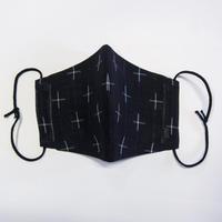 ひんやりマスクカバー / 十字絣 黒