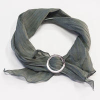 スカーフ / 万筋 縞 灰緑