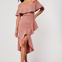 ピンク・レッド/ドレス ラップスカート オフショルダー フリル