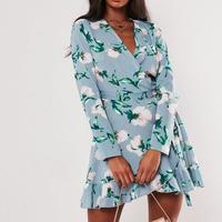 花柄ドレス ラップスカート ミニドレス 長袖ドレス