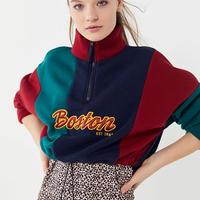 【Boston】ハーフジップ クロップドオーバースウェットシャツ