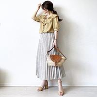 stripe pleats skirt〈beige〉