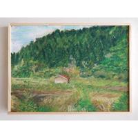 マメイケダ作品「農家の小屋と山」