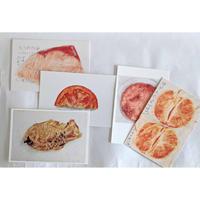 マメイケダ ポストカードセット:たべもの(5種類各1枚)