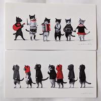 牧野千穂ポストカード:猫2種類(パレード+集会)