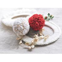 髪飾り -紅白の花手毬かんざしー