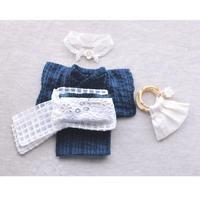 【for Doll】浴衣(完成品)  〜しじら織り・アンティーク帯〜
