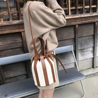 キャンバスバケットBag(cow leather)【10月中旬より順次発送】