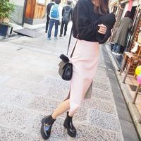 ベイビーピンクエコレザースカート【11月中旬~下旬発送】