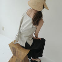 【即納】 back ribbon linen tops