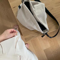 linen × leather shoulder tote[select/予約]