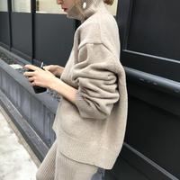 Woolカシミアボトルネックknit【即納】