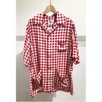 "s/s/ open neck shirt  - ""check""  #red"