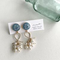 花とビーズ <blue gray>  01