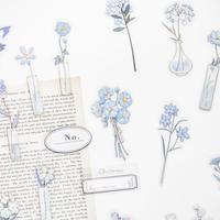 お花のフレークシール 40枚 blue [AZ204]