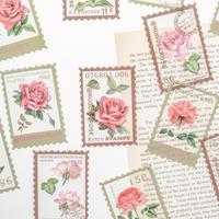 お花の切手風フレークシール 40枚 rose story [ST051]