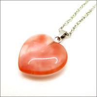 ローズクォーツ(紅水晶)ハートネックレス U0037