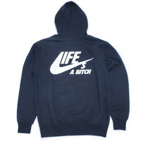 [50%OFF!] N.Y.A LIFE's A BITCH プルオーバーパーカーNAVYネイビーNAS ILLMATIC Hoodie JAPAN exclusive