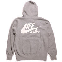 [50%OFF!] N.Y.A LIFE's A BITCH プルオーバーパーカーGREYグレーNAS ILLMATIC Hoodie JAPAN exclusive
