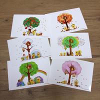 ポストカード 6枚組み ひよこシリーズ 「ひよこの木」